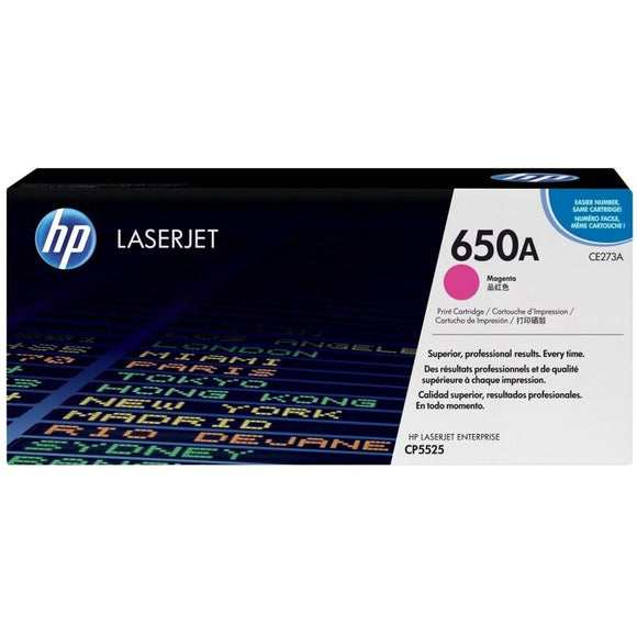 CE273A	HP 650A MAGENTA ORIGINAL LASERJET TONER CARTRIDGE - Consommables