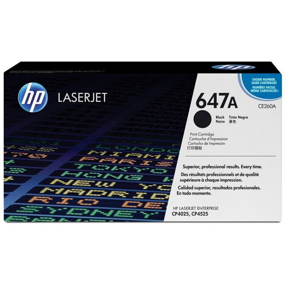 CE260A	HP 647A Black ORIGINAL LASERJET TONER CARTRIDGE - Consommables