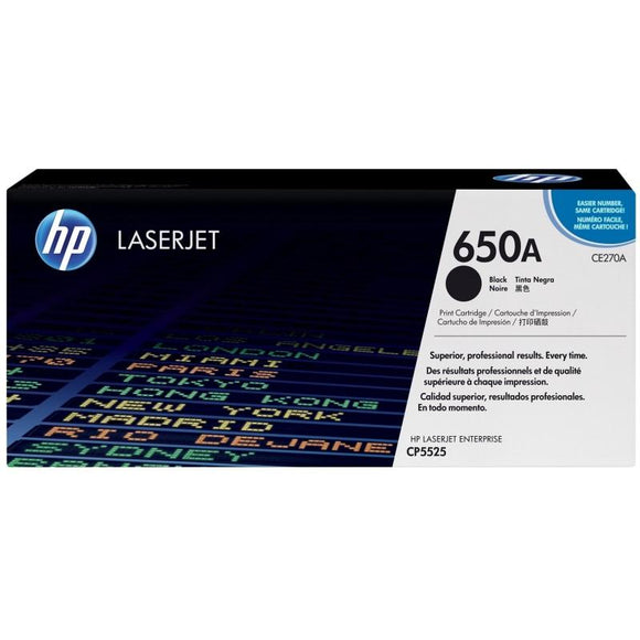 CE270A	HP 650A Black ORIGINAL LASERJET TONER CARTRIDGE - Consommables