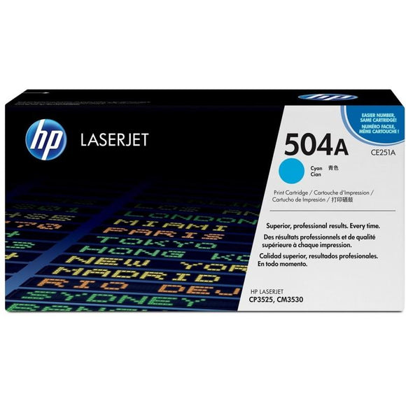 CE251A	HP 504A CYAN ORIGINAL LASERJET TONER CARTRIDGE - Consommables