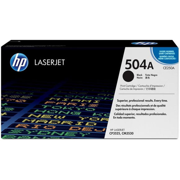 CE250A	HP 504A Black ORIGINAL LASERJET TONER CARTRIDGE - Consommables