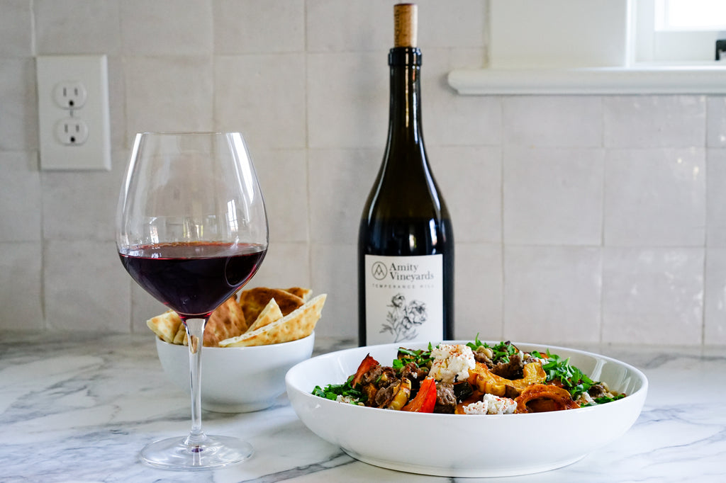 Roasted Winter Squash, Lamb and Hummus paired with Temperance Hill Pinot Noir