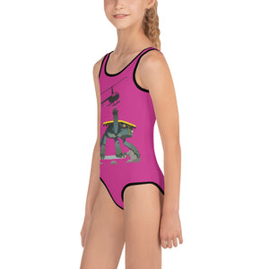 Dolly Monster All-Over Print Kids Swimsuit - PINK