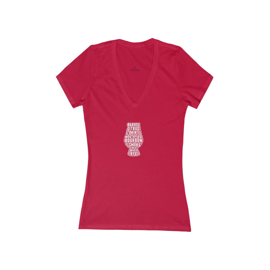 Bourbon Flavors Women's Jersey Short Sleeve Deep V-Neck Tee