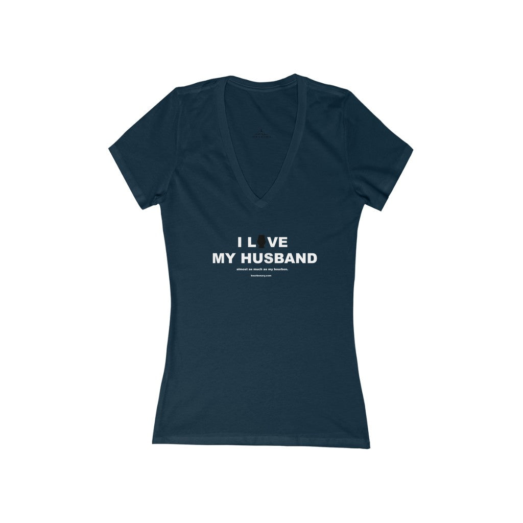 I Love My Husband - Women's Jersey Short Sleeve Deep V-Neck Tee