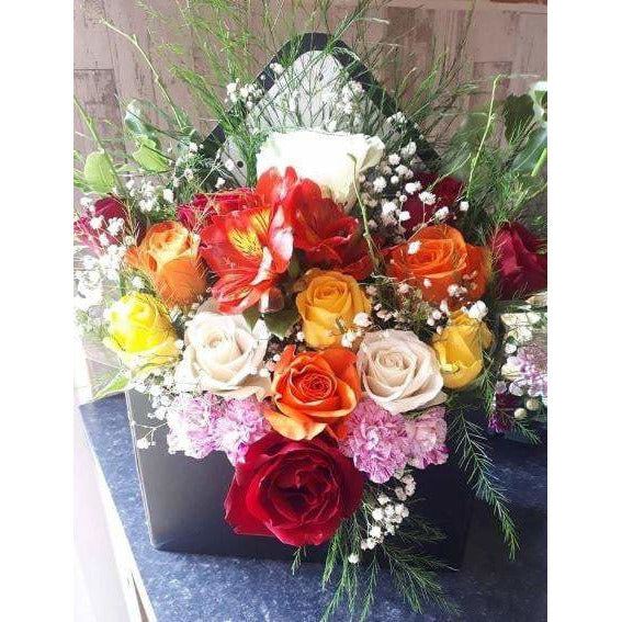 Mothers Day Flowers Delivery - Roses in Box - 12 Roses No 2 - Mandies Creations Florist