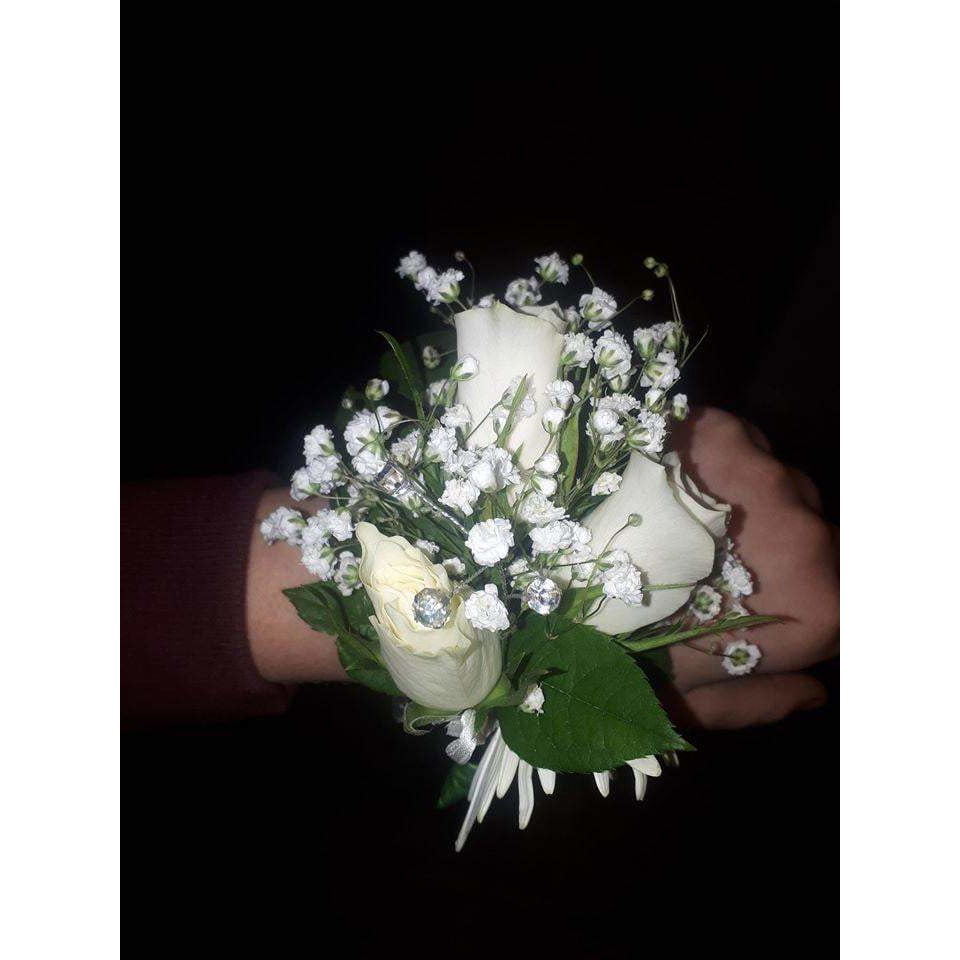 Corsage and Boutonniere - White Roses, Large - Mandies Creations Florist