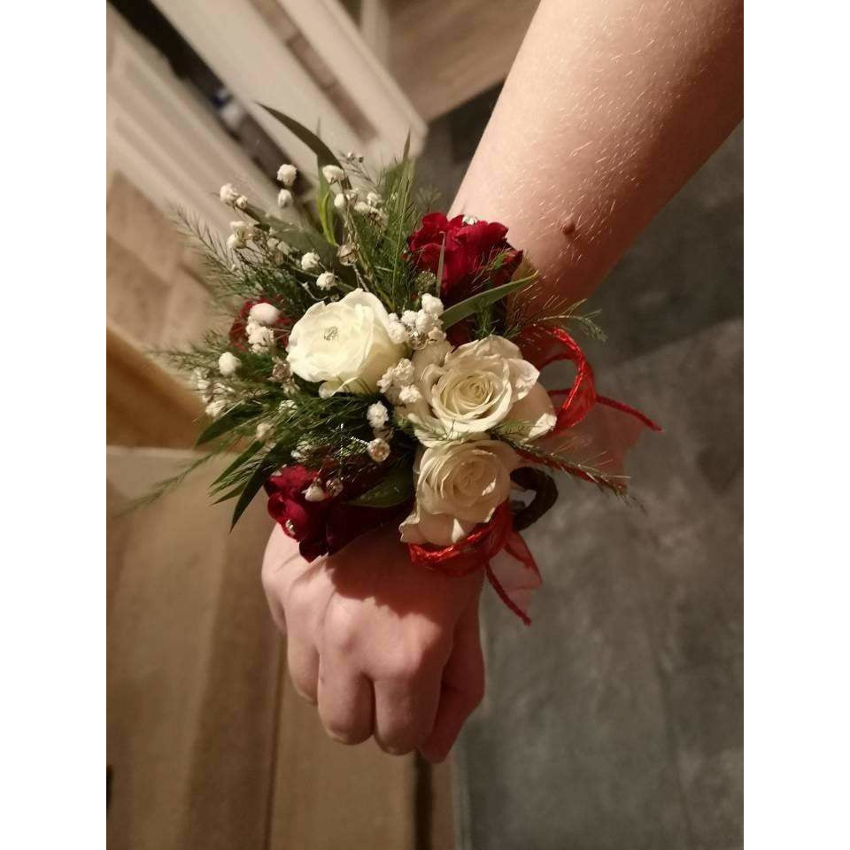 Corsage Lisburn - Red and White Roses, Large - Mandies Creations Florist