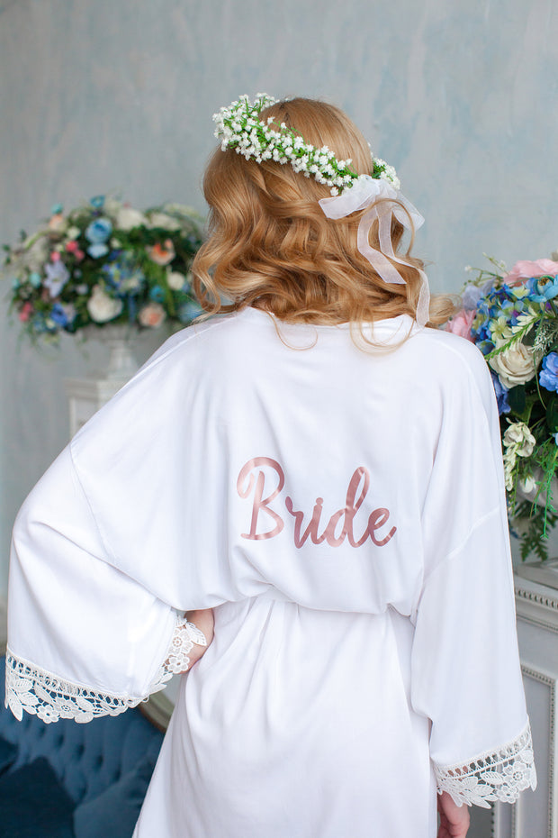 Lace Bridal Robe - Bridesmaid Robes - Bridal Robe - Bride Robe - Bridal Party Robes - Bridesmaid Gifts - Lace Trim Robes - Personalized Robe - idocrewbridal
