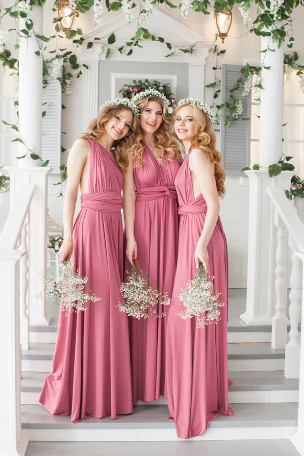 Copy of Infinity  Bridesmaid Maxi Dress, Bridal Party Dress, Multiway Dress,  Convertible Infinity Dress, Dusty Rose Prom Dresses, Party Dress Maternity Dress - idocrewbridal