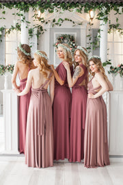 Long Bridesmaid Dress infinity dress, Convertible Infinity Dress, Dusty Rose Prom Dresses, Party Dress Maternity Dress - idocrewbridal