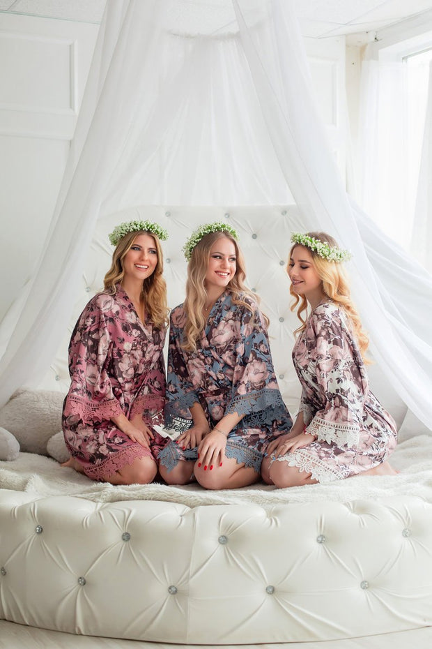 Floral Satin Bridesmaid Robes - Bridesmaid Gifts - Getting Ready Robes - Bridal Party Gift - Kimono Robe - Bridesmaid Gifts - Lace Trim Robes - Personalized Robe - idocrewbridal