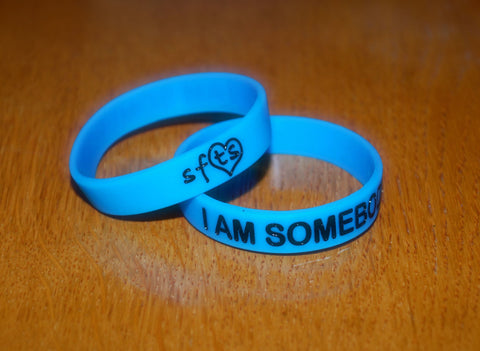 Glow In The Dark Royal Blue w/ Black Letters Wristband