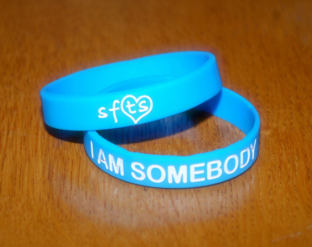 "Light Blue ""I Am Somebody"" w/ White Letters Wristband"