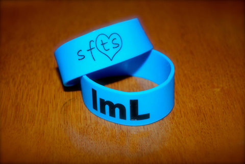 "1"" lmL-Royal Blue w/ Black Letters Wristband"