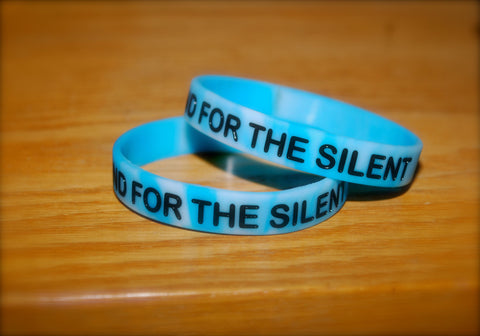 Glow In The Dark Blue Camo w/ Black Letters Wristband