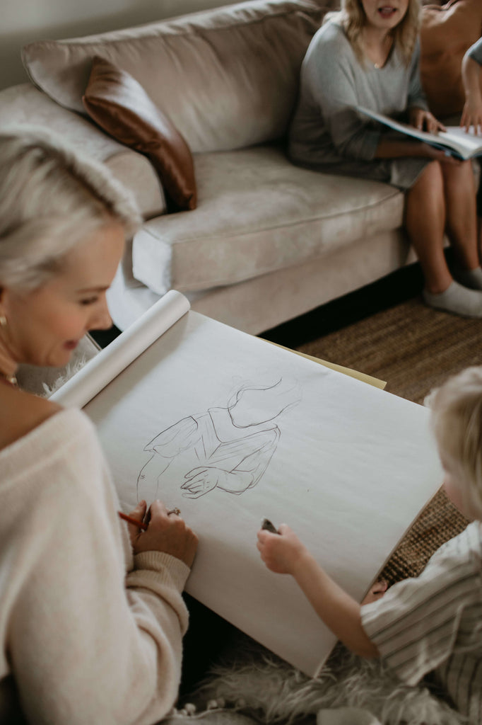 in home drawing sessions- family portrait drawings