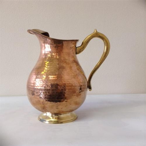 Copper Pitcher Jug with Brass Handle