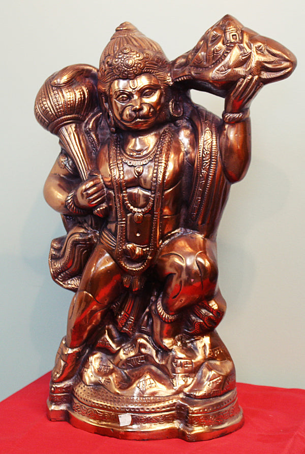 "Black Metal Statue of Hanumanji w/ Pahad in one Hand 23""- LI14"