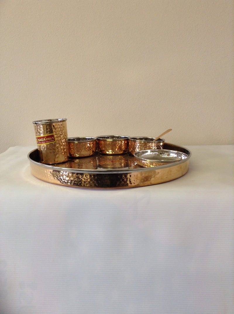 Copper Hammered Thali Set