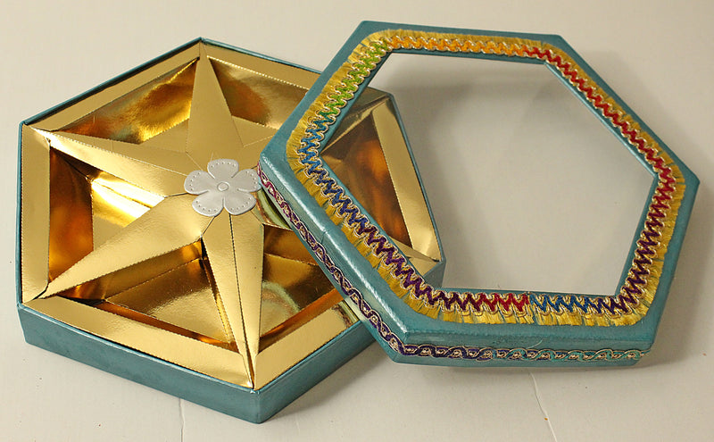 Blue Hexagon 6 partition Dry Fruit Box- S034