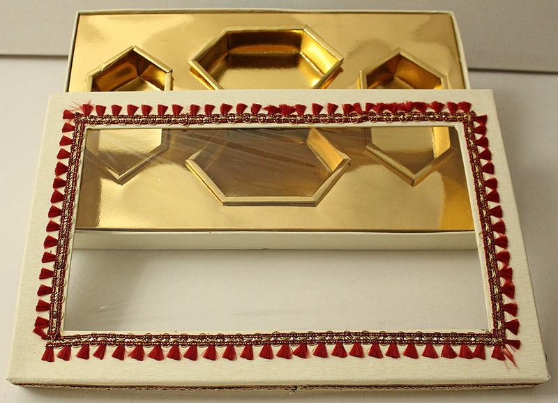 Red Layes 4 Partition Dry Fruit Box- S040