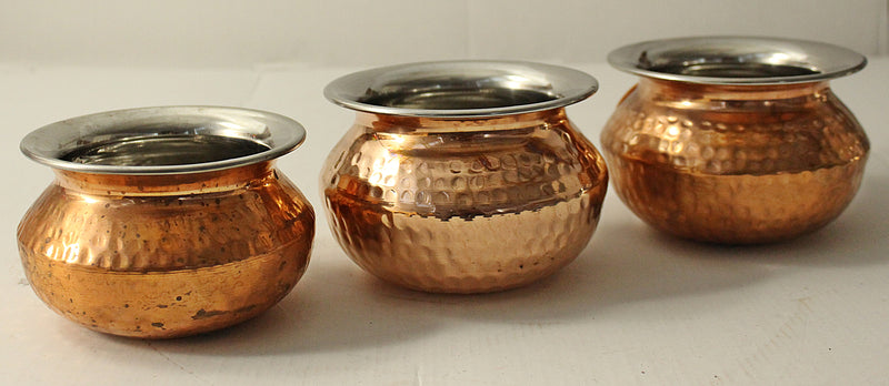 Copper Hammered Punjabi Handi (Serving Bowls) No 1