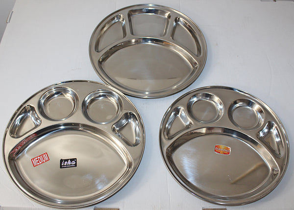 Stainless Steel Round 5 Compartment Dinner Thali Plate 12""