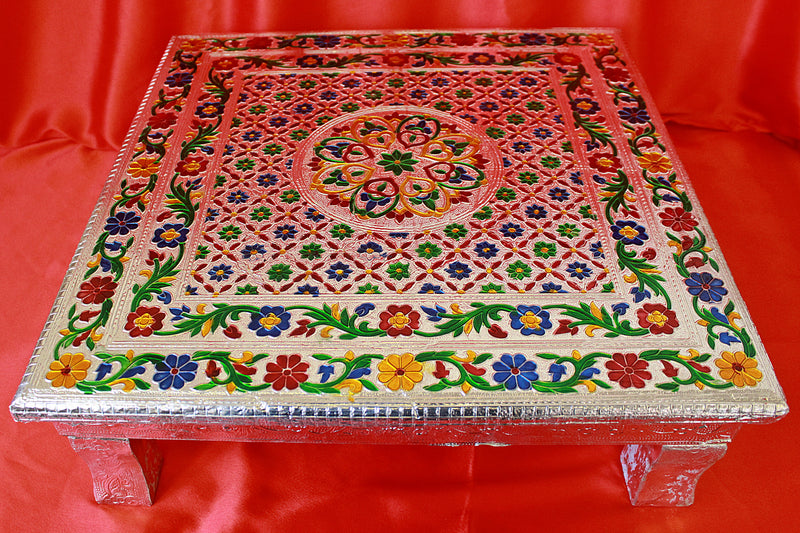Bajot for Pooja w/ Meenakari Work & Silver Finish Puja Table in 3 Size- LI35