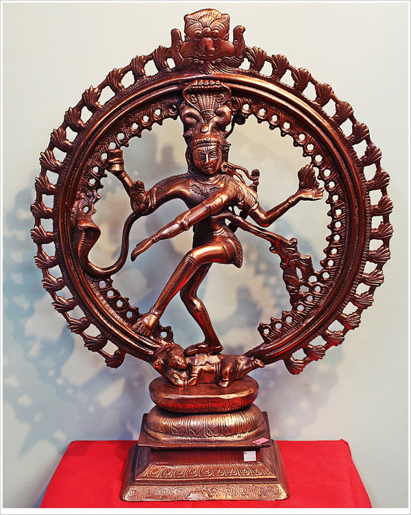 "Black Metal Statue of Natraja The Dancing God 24""- LI5"