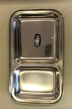 Stainless Steel Rectangle Plate / Thali w/ 2 Compartments (6 Pcs)