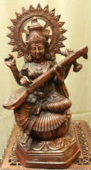 "Black Metal Statue of Goddess Saraswati Maa 18""- LI10"