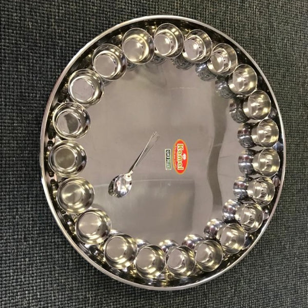 "Stainless Steel Bahubali Thali with 21 Bowls - 22"" Diameter"