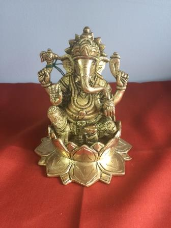 Brass Carved Ganesha Statue Sitting On Lotus - 5""