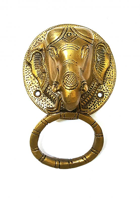 Brass Golden Ganesh Carving Door Knocker