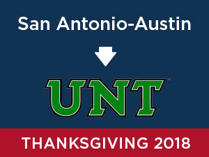 Thanksgiving-2018: University of North Texas FROM San Antonio - Austin
