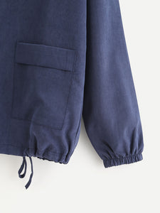 Dual Pocket Drawstring Hem Jacket