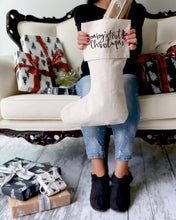 Load image into Gallery viewer, Baby's First Christmas Cotton Canvas Stocking
