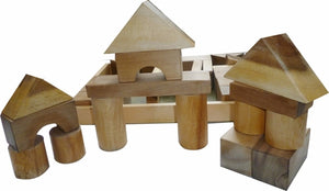 NATURAL WOOD BLOCKS - 34 PIECES
