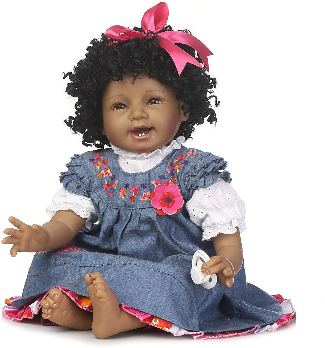 Newborn Black Doll African American Black Curly Hair Denim Dress Gift Set for Ages 3+