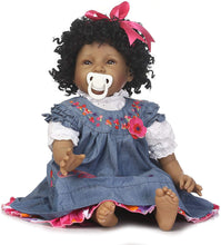 Load image into Gallery viewer, Newborn Black Doll African American Black Curly Hair Denim Dress Gift Set for Ages 3+