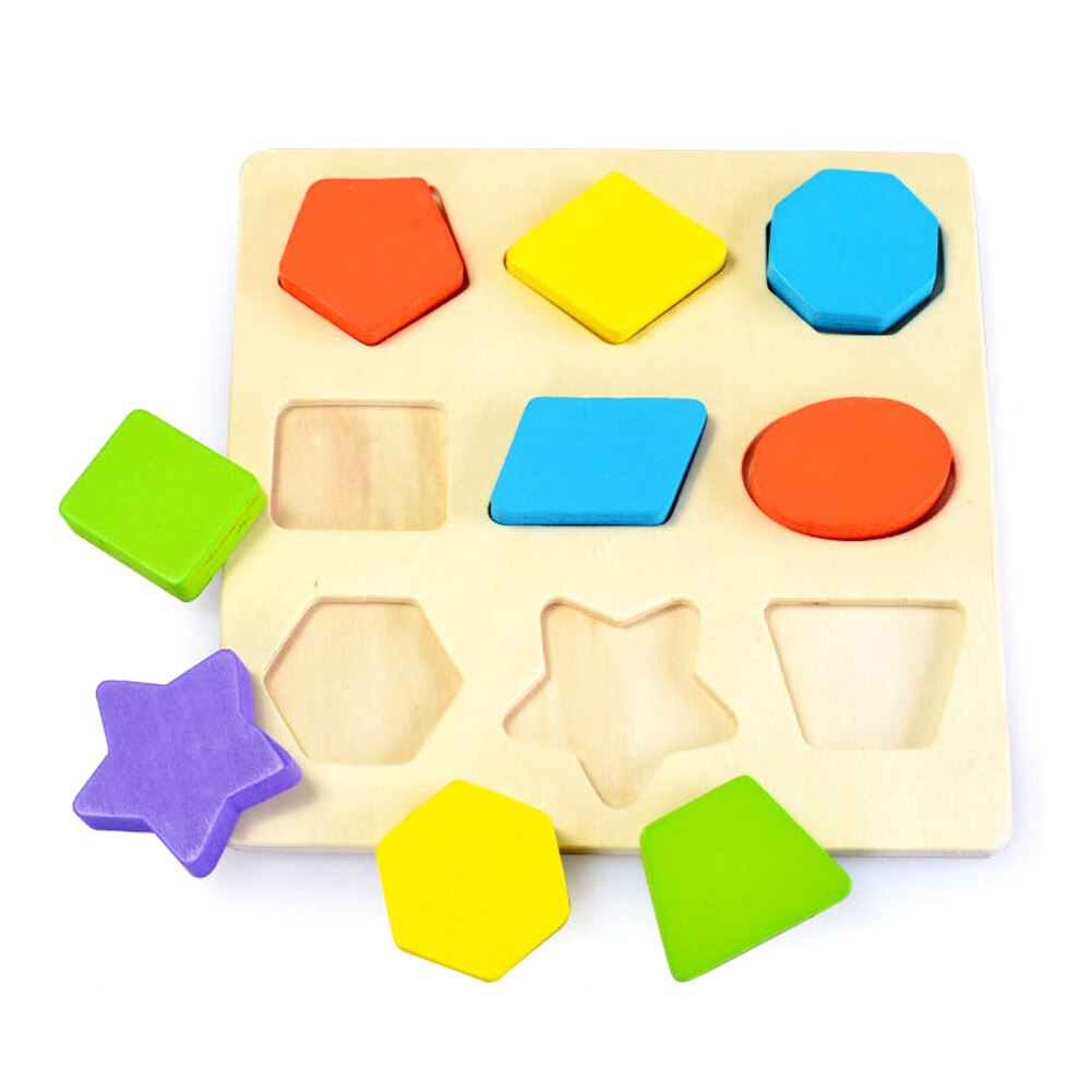 9pcs Blocks 3D Wooden Multicoloured Geometric