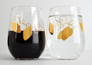 Metallic Gold Retro Christmas Lights Stemless Wine