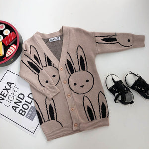 Baby Girls Sweaters Toddler Boys Cardigans Coat Cartoon Rabbit Children Cotton Knitwear Autumn Winter Kids Girl Pullover Sweater