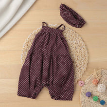 Load image into Gallery viewer, Baby girl polka-dot suspenders coveralls headscarf