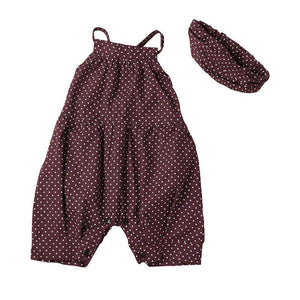 Baby girl polka-dot suspenders coveralls headscarf