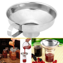Load image into Gallery viewer, Canning Funnel Stainless Steel Wide Mouth Canning Funnel Hopper Filter