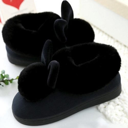 Cute Rabbit Plush All-inclusive Slippers Women Winter Indoor Home Mule