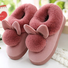 Load image into Gallery viewer, Cute Rabbit Plush All-inclusive Slippers Women Winter Indoor Home Mule