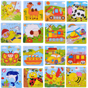 Fashion Cartoon Animals Wooden  Jigsaw Kids